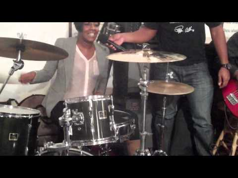 Leandria johnson gets on drums