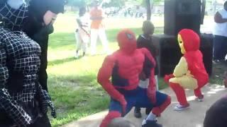 lol spiderman batman ironman get loose at a kids party