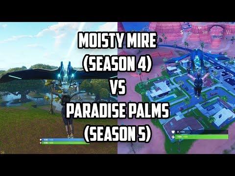 moisty-mire-(season-4)-vs-paradise-palms-(season-5)-|-fortnite:-battle-royal-season-4-vs-season-5