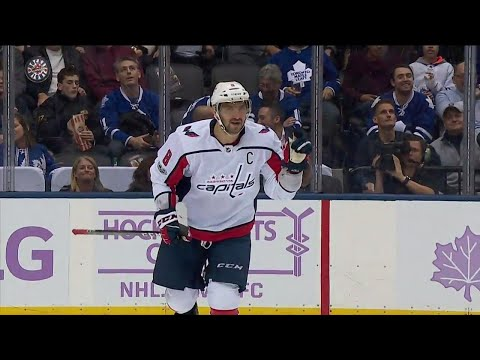 Ovechkin flies past the Maple Leafs defence and fires home his 16th