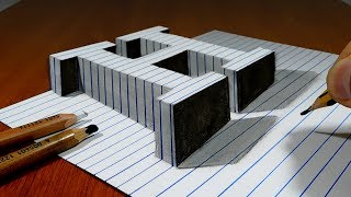 Draw a Letter H on Line Paper   3D Trick Art