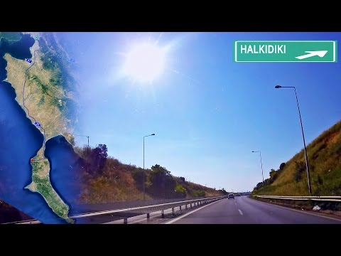 Halkidiki, Greece road map. Thessaloniki - Sani resort time-lapse drive with town exits.