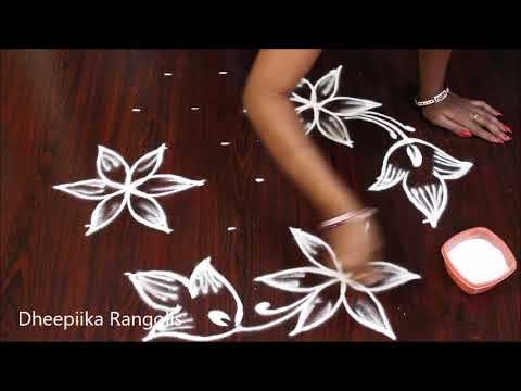 Simple And Easy Flower Rangoli Design With 7 Dots Small Daily