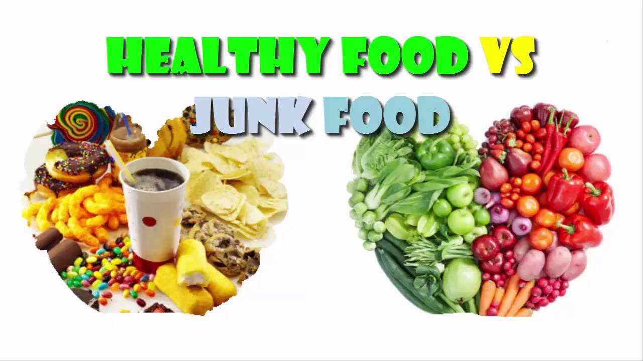 junk food vs healthy food Some things just scream junk food you know double-stuffed chocolate cookies and the cheese puffs that stain your fingers orange aren't good for you.