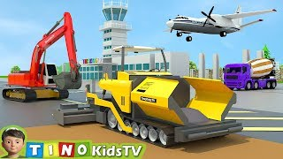 Asphalt Paver & Construction Trucks for Kids  | Airport Construction for Children