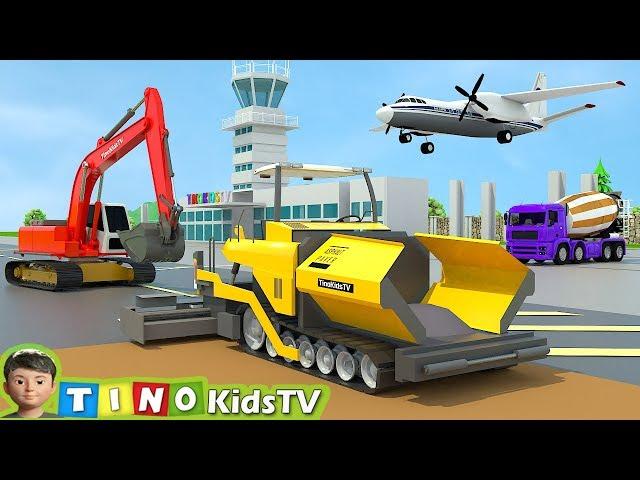 Asphalt Paver & Construction Trucks for Kids    Airport Construction for Children