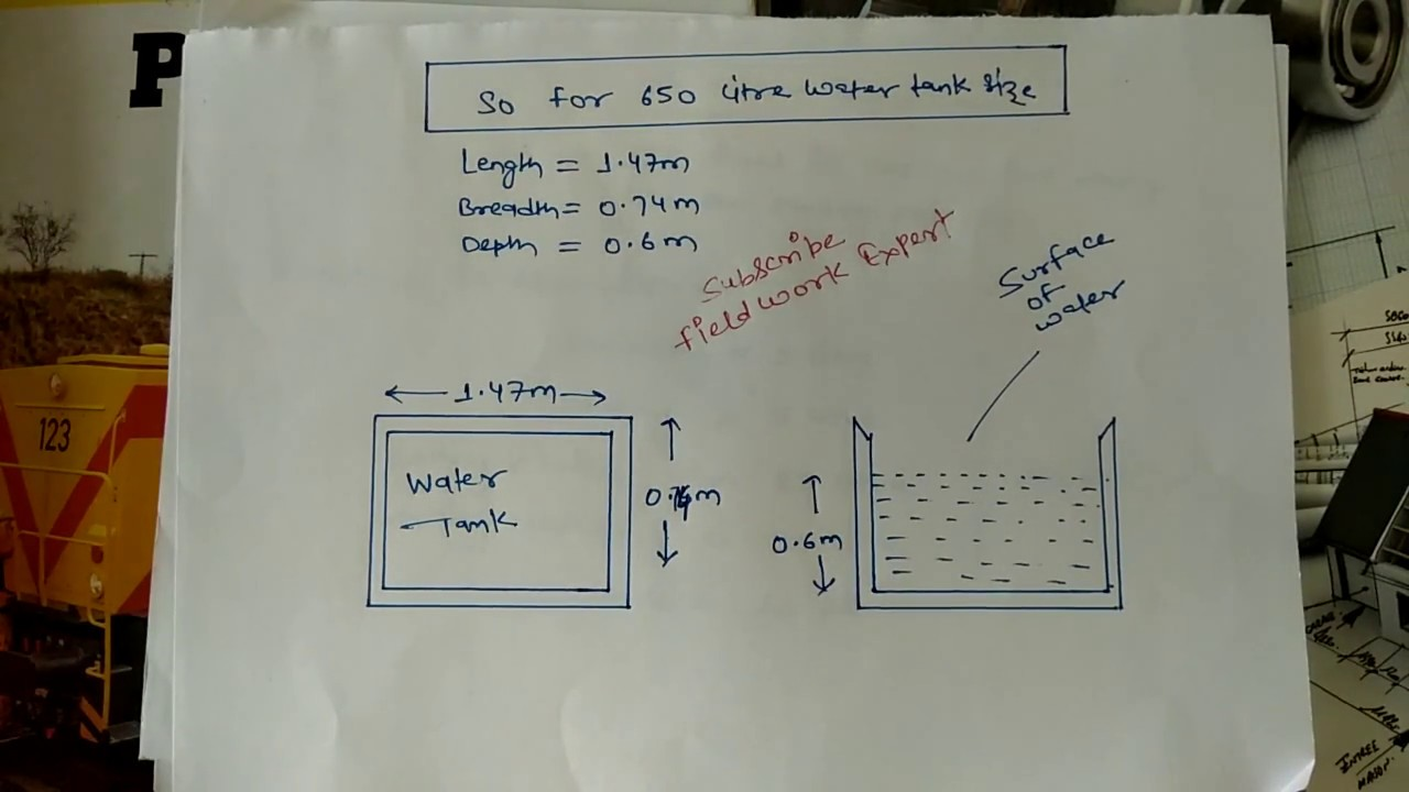 How to calculate rectangle water tank Size and Capicity  Water Tank  Calculation