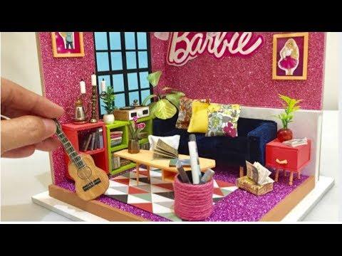 DIY MINIATURE DOLLHOUSE  How to Design Barbie Miniature Dollhouse Living Room