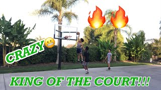 CRAZY KING OF THE COURT GAME!!!!🔥🔥🔥(Brother gets dunked on😳)