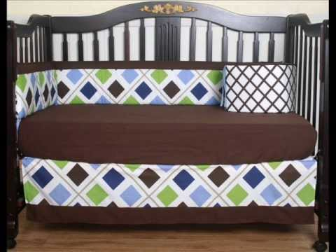 Boutique Blue Brown Diamond 13pcs Crib Bedding Set Crib