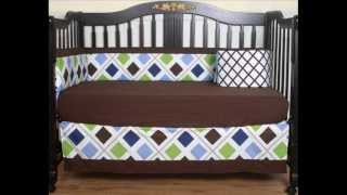 Boutique Blue Brown Diamond 13pcs Crib Bedding Set; Crib Bedding Blue, Baby Boy Crib Bedding