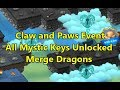 All Mystic Keys Unlocked for Claw and Paws Event in Merge Dragons