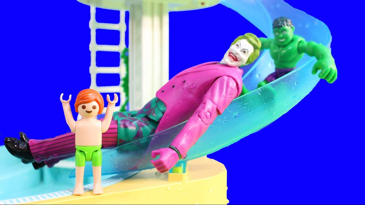 Playmobil joey swims at water park pool with baby hulks - Playmobil swimming pool with waterslide ...