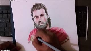 Drawing Alexios [HD] | Assassin's Creed Odyssey | FC Polychromos Color Pencils | Pencil Glue