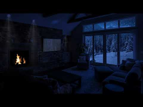 Winter Storm Ambience with Soft Howling Wind & Fireplace Sounds For Sleeping, Studying & Relaxation.