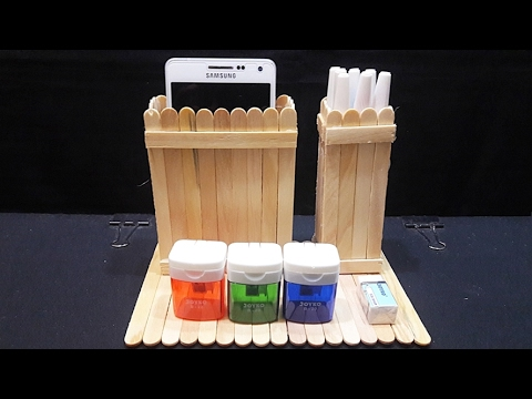 Cara Membuat Tempat Pensil & Tempat Smartphone Dari Stik Eskrim