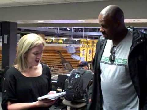 Boston Herald's Jessica Heslam w/ Cedric Maxwell @ NBA Finals Game 3