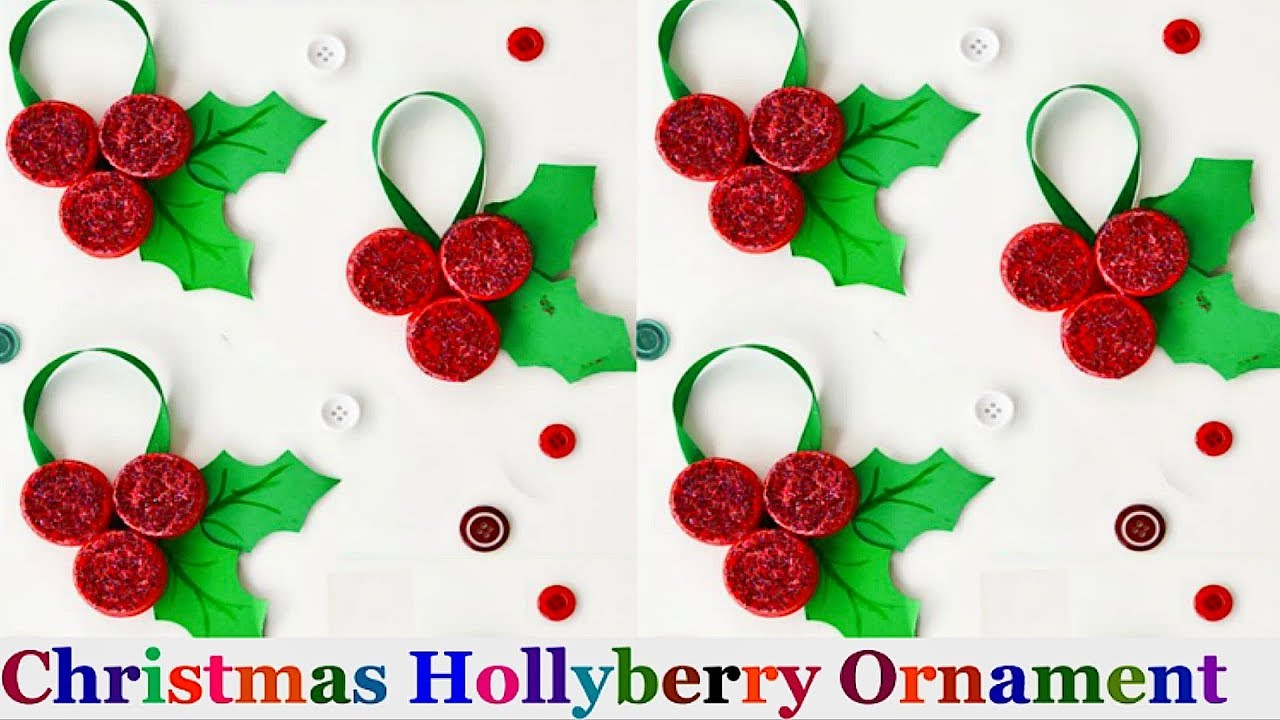 Christmas Holly Berry Ornament From Plastic Bottle Cap
