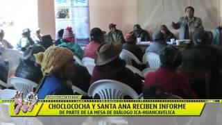 CHOCLOCOCHA Y SANTA ANA RECIBEN INFORME DE PARTE DE LA MESA DE DIÁLOGO ICA-HUANCAVELICA