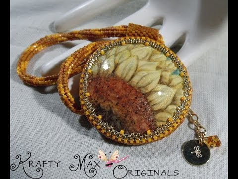 Beautiful Sunflower Necklace w/WingsNScales Handpainted Cabochon a Krafty Max Original Design