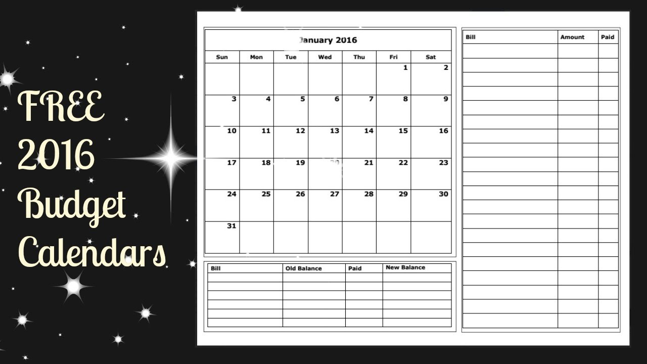Printable Bill Calendar Free Download