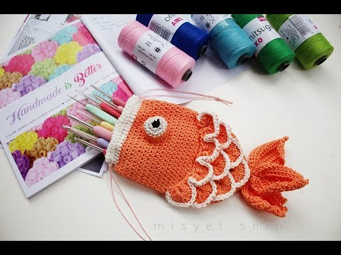 DIY Drawstring Fish Pouch Crochet