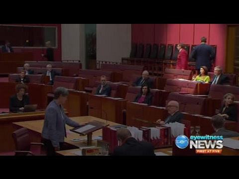 Cory Bernardi delivered his speech & turned his back on the senate