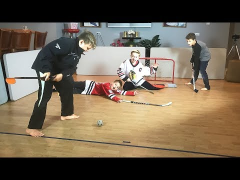 Knee Hockey PAtrick Kane Jonathan Toews HIGH SCORING 2 on 2  take on T Grimm and Max B Money