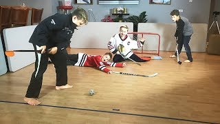 Knee Hockey PAtrick Kane Jonathan Toews HIGH SCORING 2 on 2  take on T Grimm and Max B Money