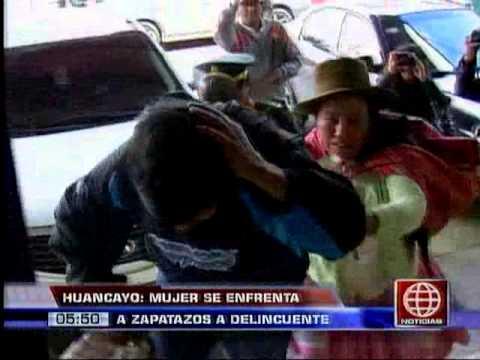 América Noticias: Huancayo: mujer se enfrenta a zapatazos a delincuente