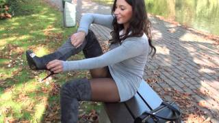 Repeat youtube video Broken gianmarco lorenzi boots high heels & suede GML grey thigh high boots