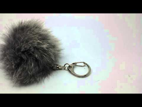 Real Rabbit Fur Pom Pom Keychain Natural Gray Perfect Gift