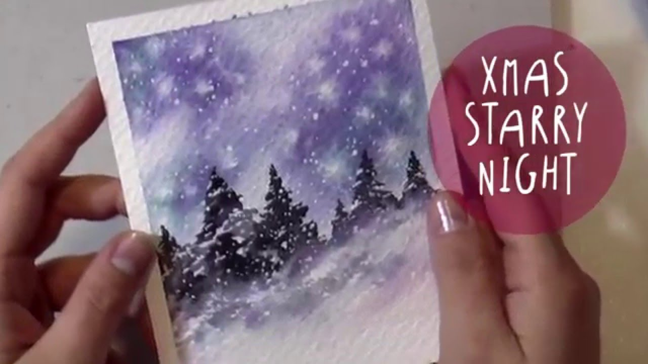 WATERCOLOR Tutorial How To Paint A CHRISTMAS NIGHT
