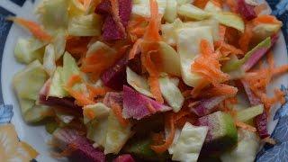 Салат из капусты, морковки и редьки