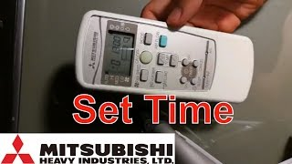 How to set up time in remote controller Mitsubishi Heavy Industries Air Conditioner