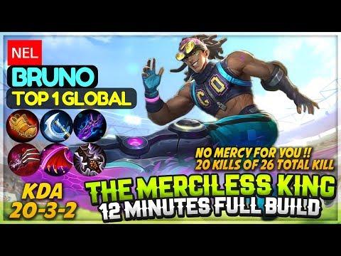 Merciless King, 12 Minutes Full Build [ Top 1 Global Bruno ] ɴᴇʟ Bruno Mobile Legends Build