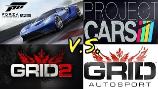 GRID 2 vs GRID AUTOSPORT vs PROJECT CARS vs FORZA 6 APEX - RACING GAMES!