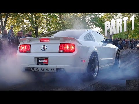 MUSCLE CARS & TUNER CARS BURNOUT SPECTACLE!! - Vantaa Cruising 5/2018 PART 1