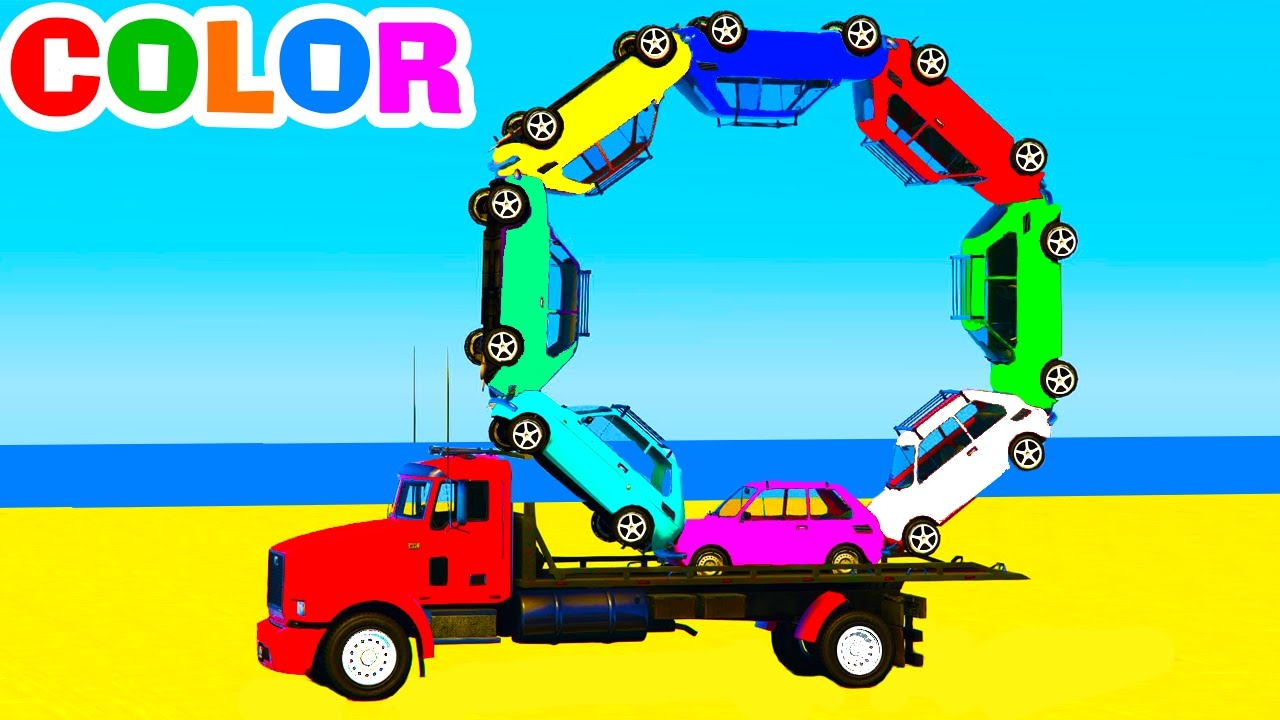 Learn Colors With Truck Cars For Kids Learn Numbers In