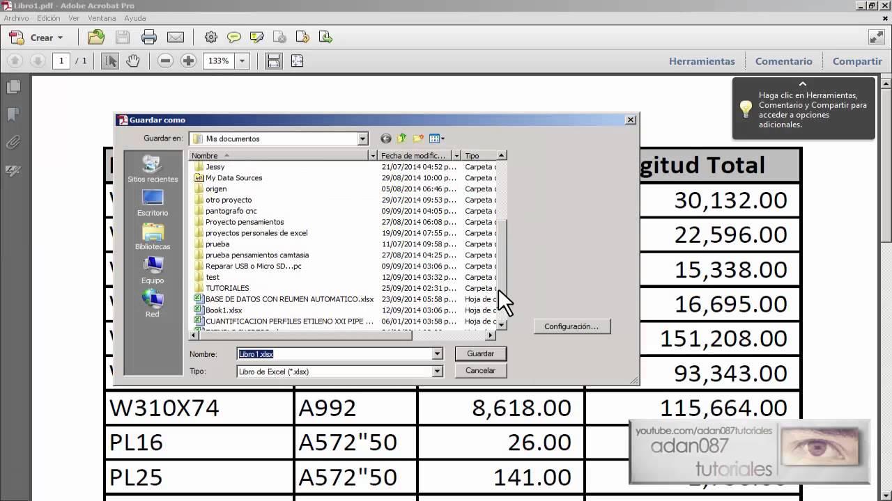 Powerpoint convertir un pdf a excel con adobe acrobat pro