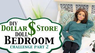 DIY Dollar Store Doll Bedroom Challenge Part 2 - DIY Barbie Bedroom