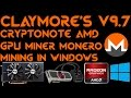Claymore's Cryptonote AMD GPU Miner 9.7 Windows Monero XMR RX470 RX480 R9-295X2