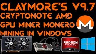 Claymore's Cryptonote AMD GPU Miner 9.7 Windows Monero XMR RX470 RX480 R9-295X2