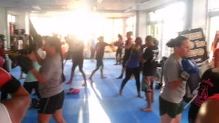 Pad Work At Ladies Only Kickboxing At Capoeira Academy Okinawa, Japan