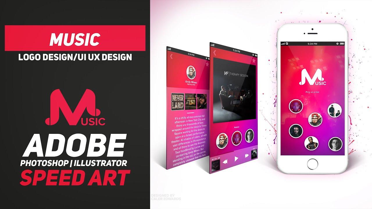 Music Logo Design Speed Art Adobe Illustratorphotoshop Cc Ui