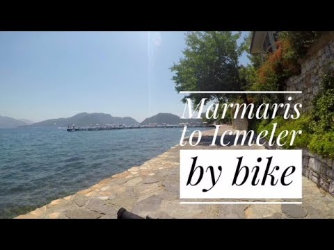 Marmaris Marina to Icmeler Harbour,  bike ride along the sea front promenade. Scenic route in 4K