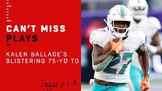 Dolphins Rookie RB Kalen Ballage's BLISTERING 75-Yd TD!