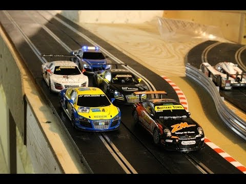Scalextric Slot Car Crashes and Close Calls