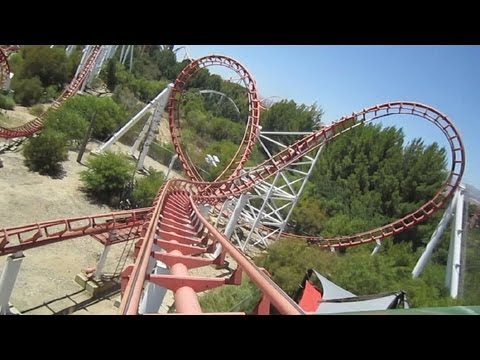 Viper front seat on-ride HD POV Six Flags Magic Mountain