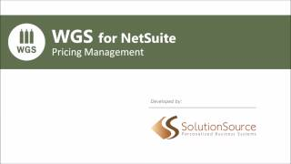 WGS for NetSuite - Pricing Management